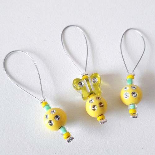 Stitch Marker Set: Butterflies yellow