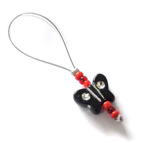 Stitch Marker: Butterfly black-red