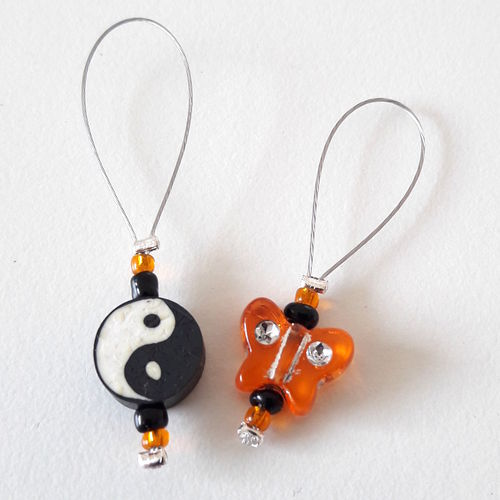 Stitch Marker Set:  Yin Yang orange