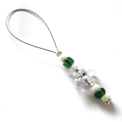 Stitch Marker: Flower white-green