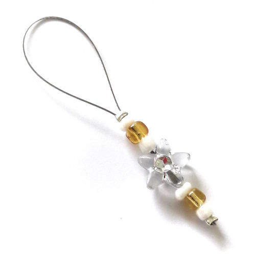 Stitch Marker: Flower white-gold