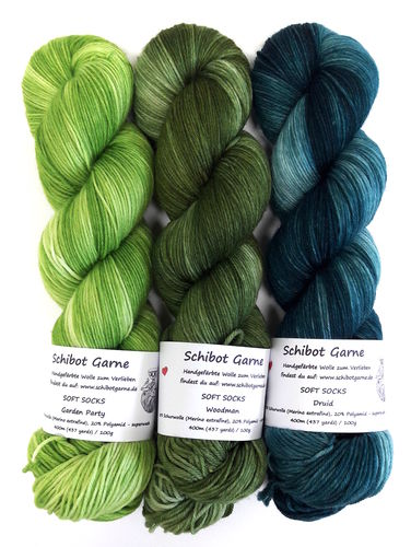 Soft Socks TRIO: Garden Party, Woodman, Druid